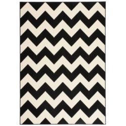 Wit met zwart design vloerkleed