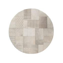 Beige rond patchwork vloerkleed