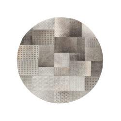 Grijs rond patchwork vloerkleed