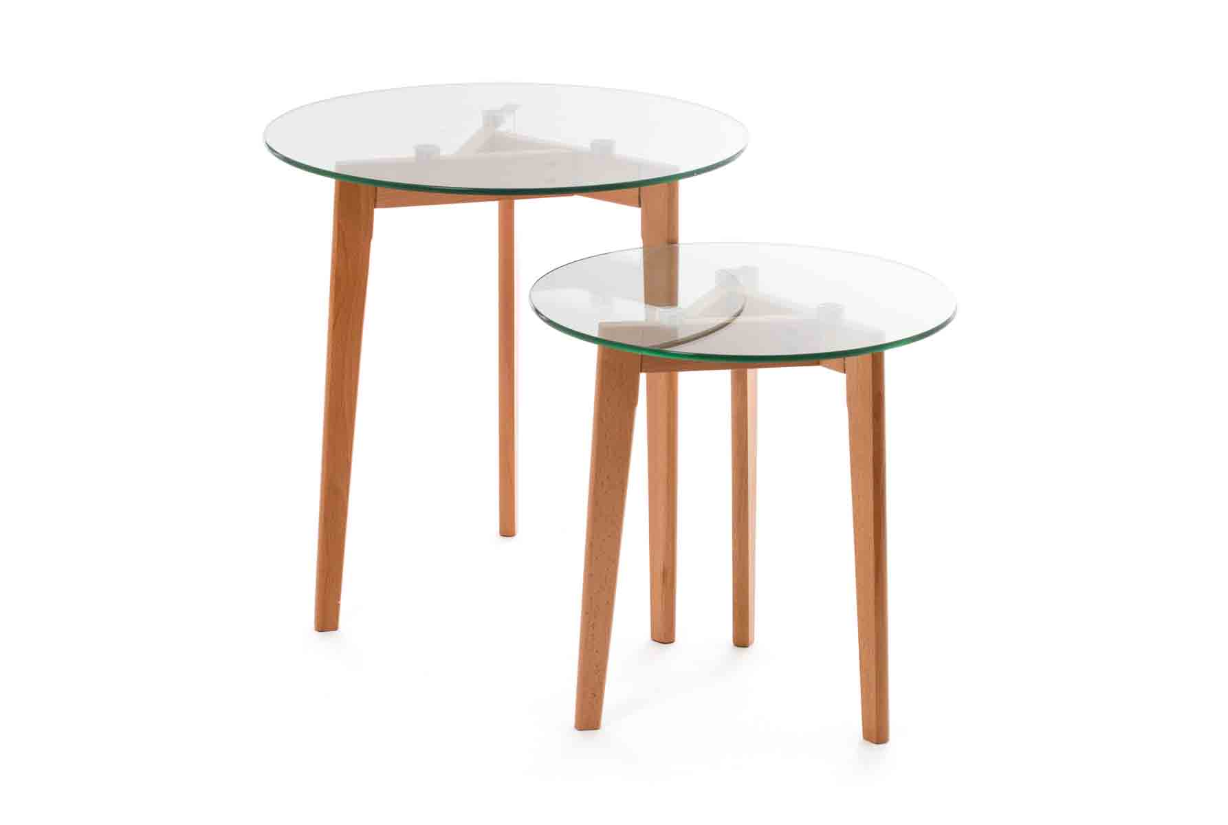Design Glazen Sidetable.Sidetable Design Hout Glas 2 Stuks