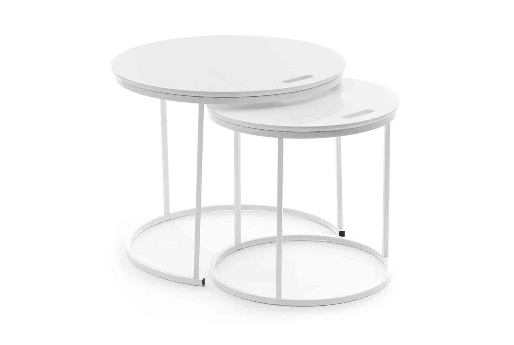 Strakke Witte Sidetable.Sidetable Design Round Wit 2 Stuks