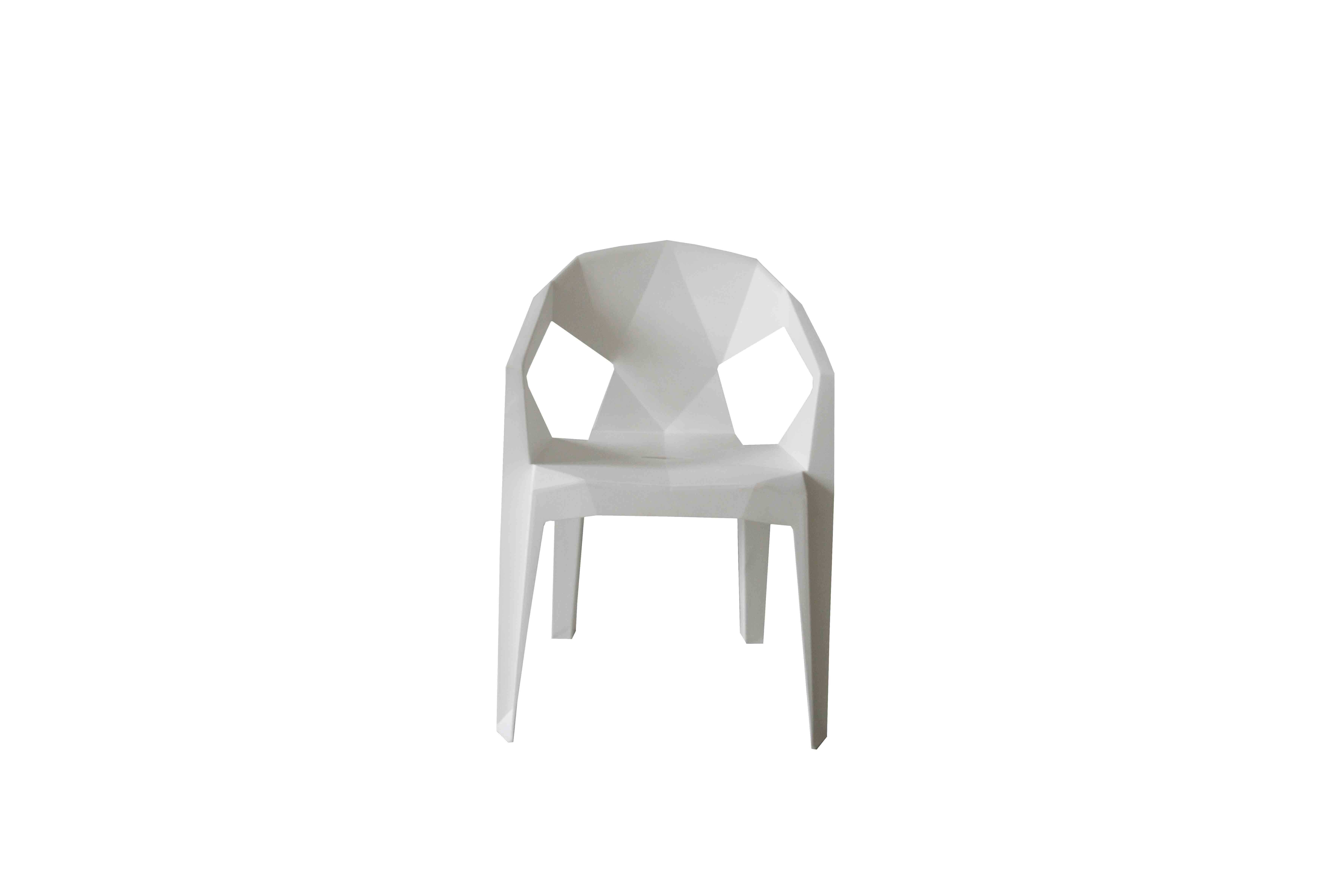 Hippe witte kunststof designstoel voor buiten kopen for Design stoel wit