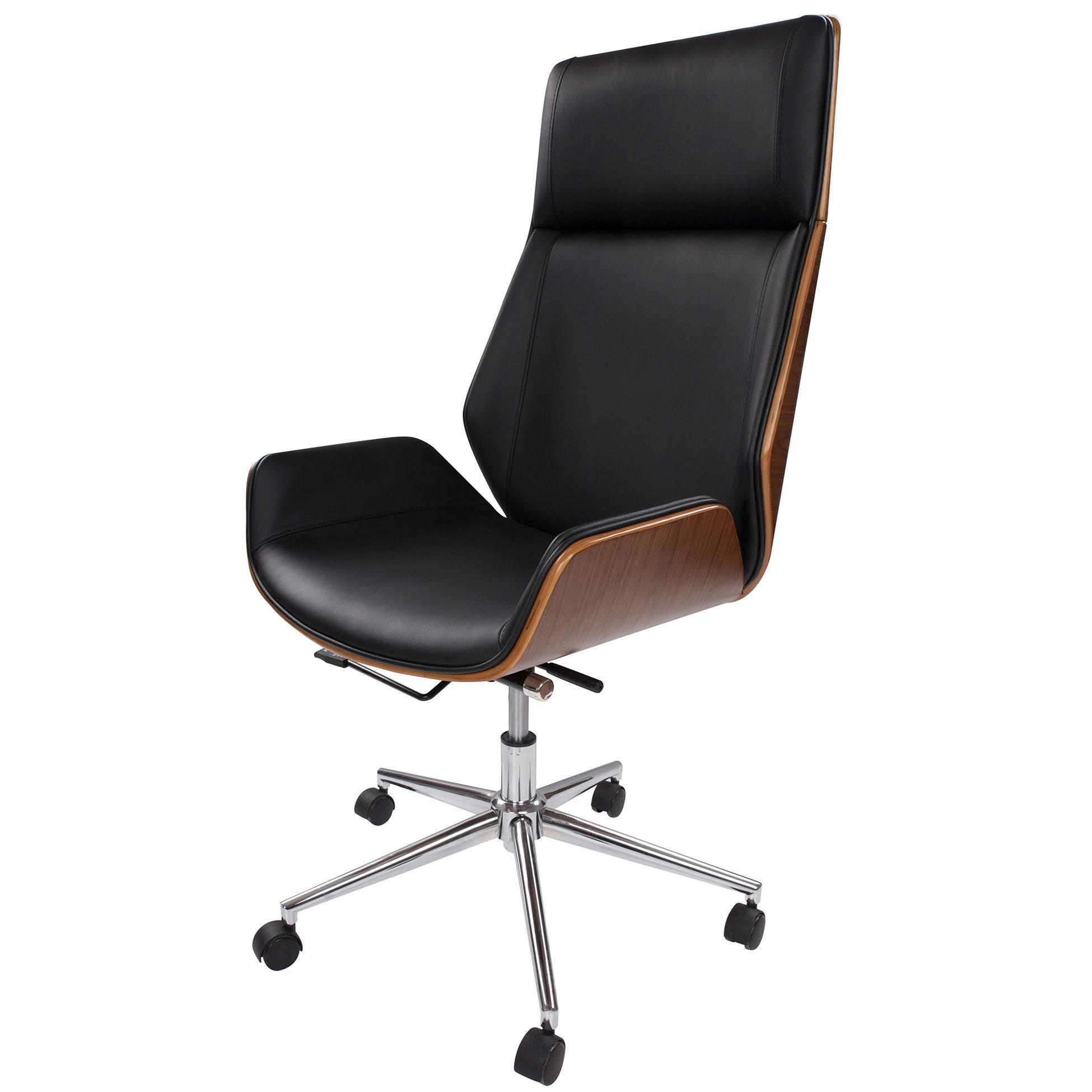 Bureaustoel Zwart Design.Moderne Design Bureaustoel Van Hout Zwart Leder Kameraankleden Nl