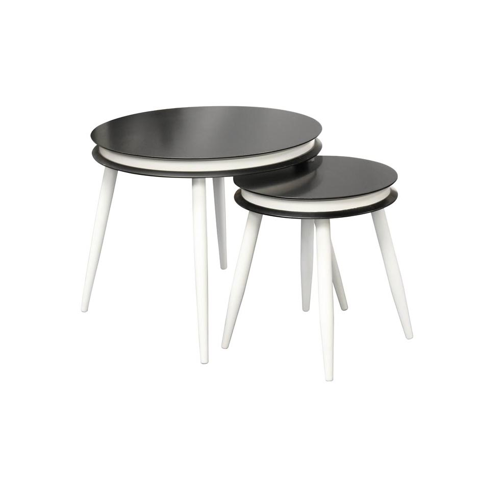 Ronde Salontafel Met Zwarte Poten.Zwarte Ronde Design Bijzettafels Met Witte Poten Kameraankleden Nl