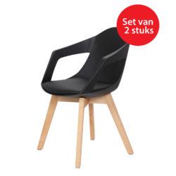 Design eetkamerstoelen Sandra Zwart (2 stuks)