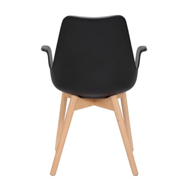 Zwarte eetkamerstoelen met houten stoelpoten