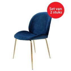 Stoel-Charlotte-2-stuks-Blauw-Messing