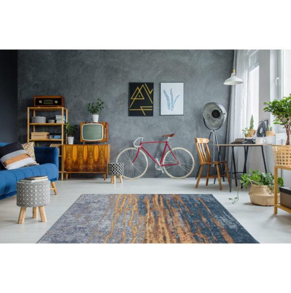 Blauw vintage design tapijt