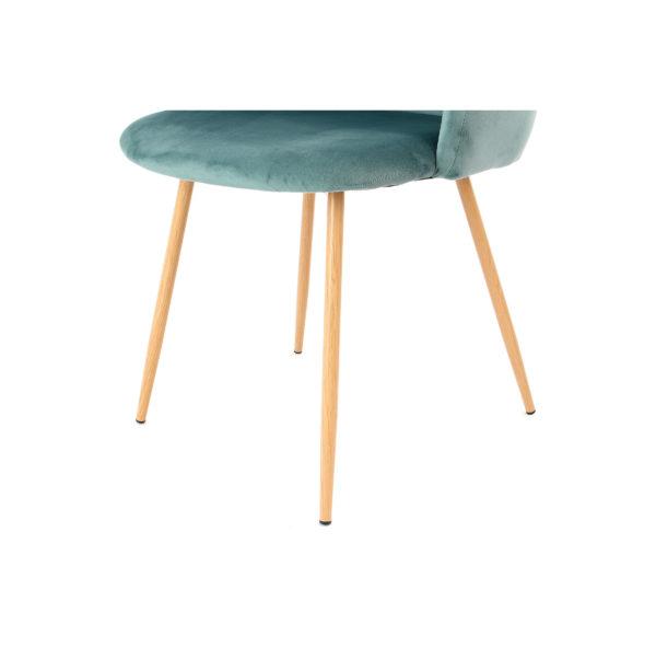 Groene eetkamerstoelen metalen stoelpoten