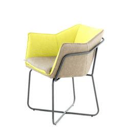 Gele-design-stoel-bruin-leer