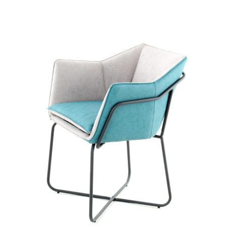Lichtgrijze design stoel lichtblauw
