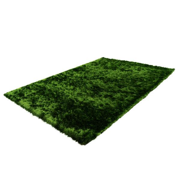 Hoogpolig donkergroen tapijt