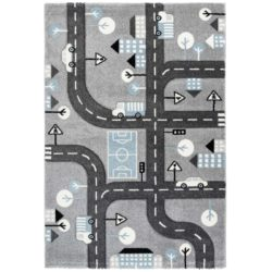 Grijs kindervloerkleed-autoweg