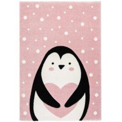 Roze kinderkamer vloerkleed Pinguïn