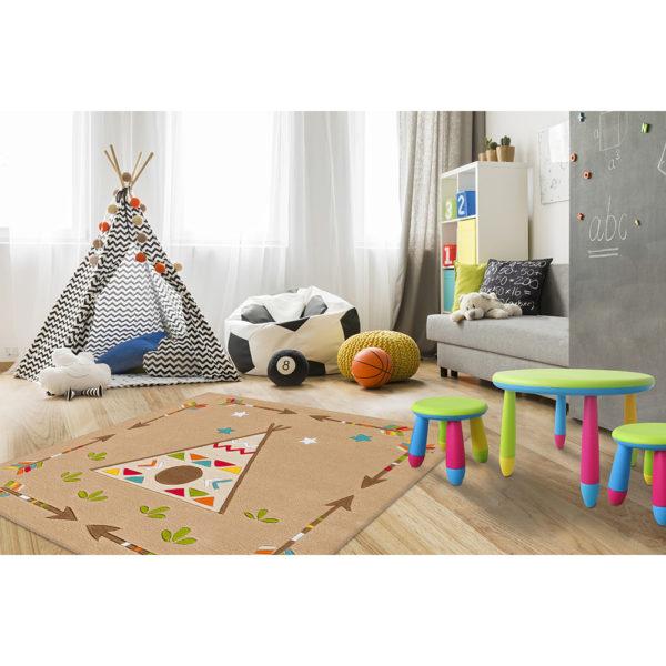 Vierkant indianen vloerkleed kinderen