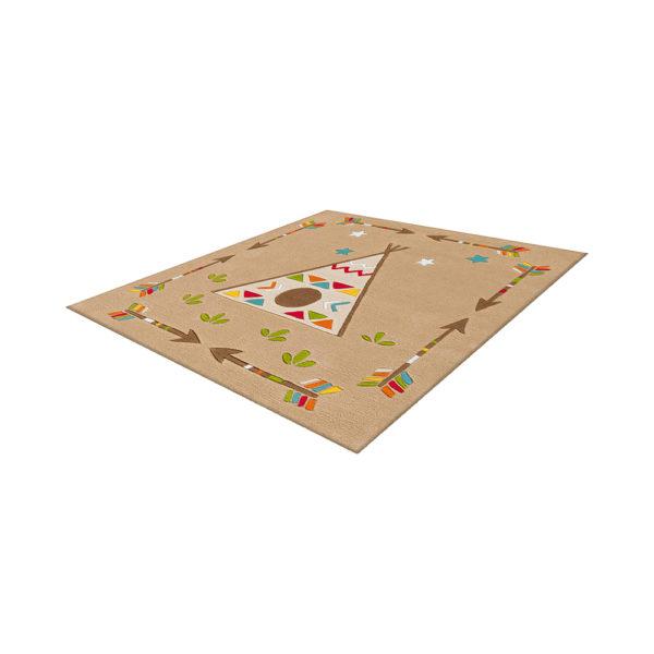 Vierkant kinderkamer vloerkleed Indiaan