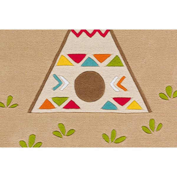 Vierkant kindervloerkleed Indiaan
