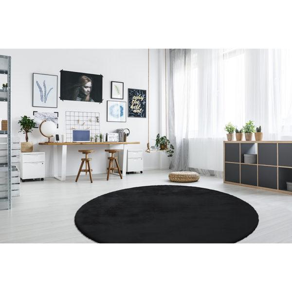Hoogpolig zwart rond vloerkleed