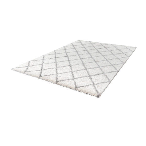 Wit hoogpolig ruit vloerkleed