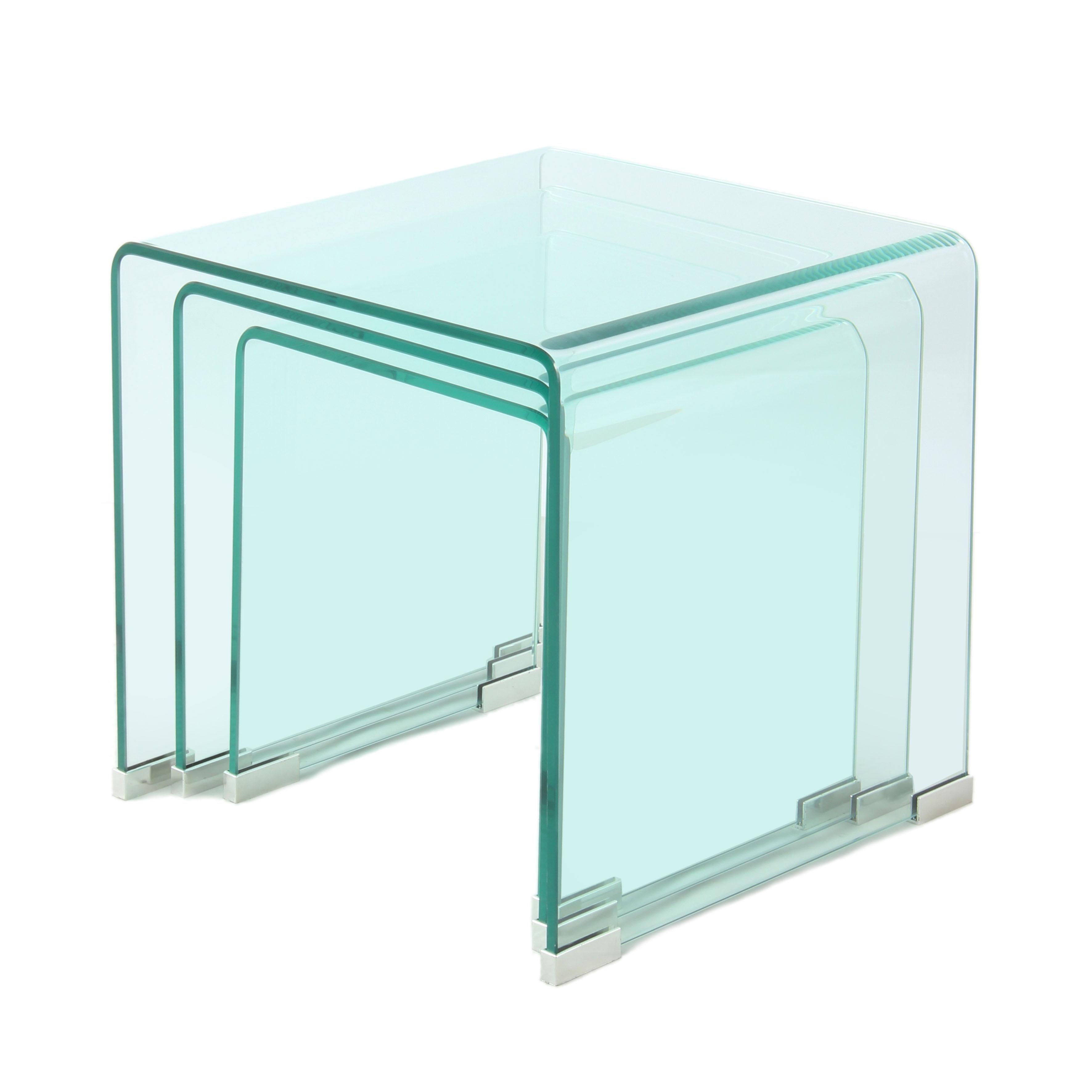 Set Van 3 Glazen Bijzettafels.Bijzettafels Cor Glas Set Van 3