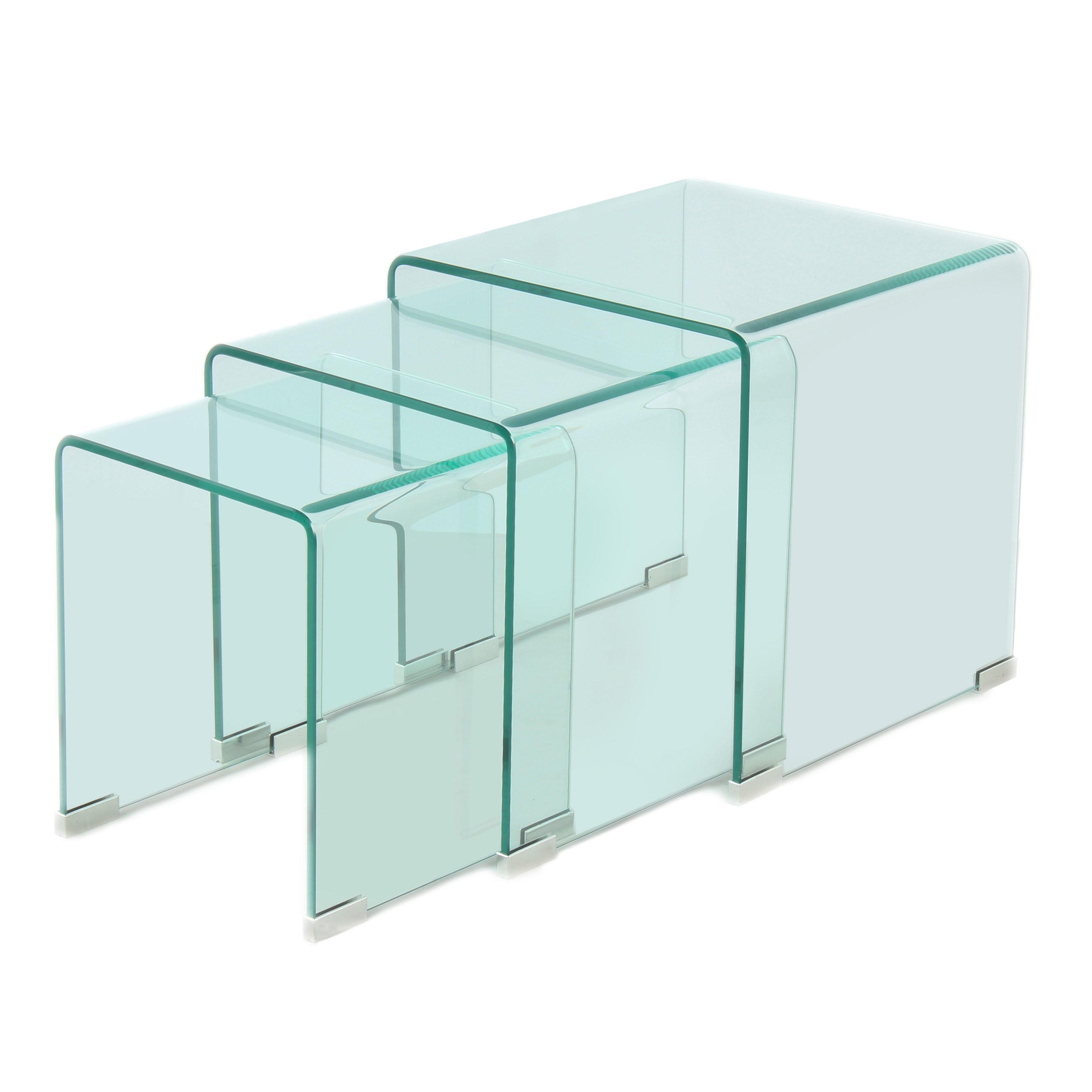 Glazen Kubus Tafeltje.Vierkante Glazen Bijzettafel