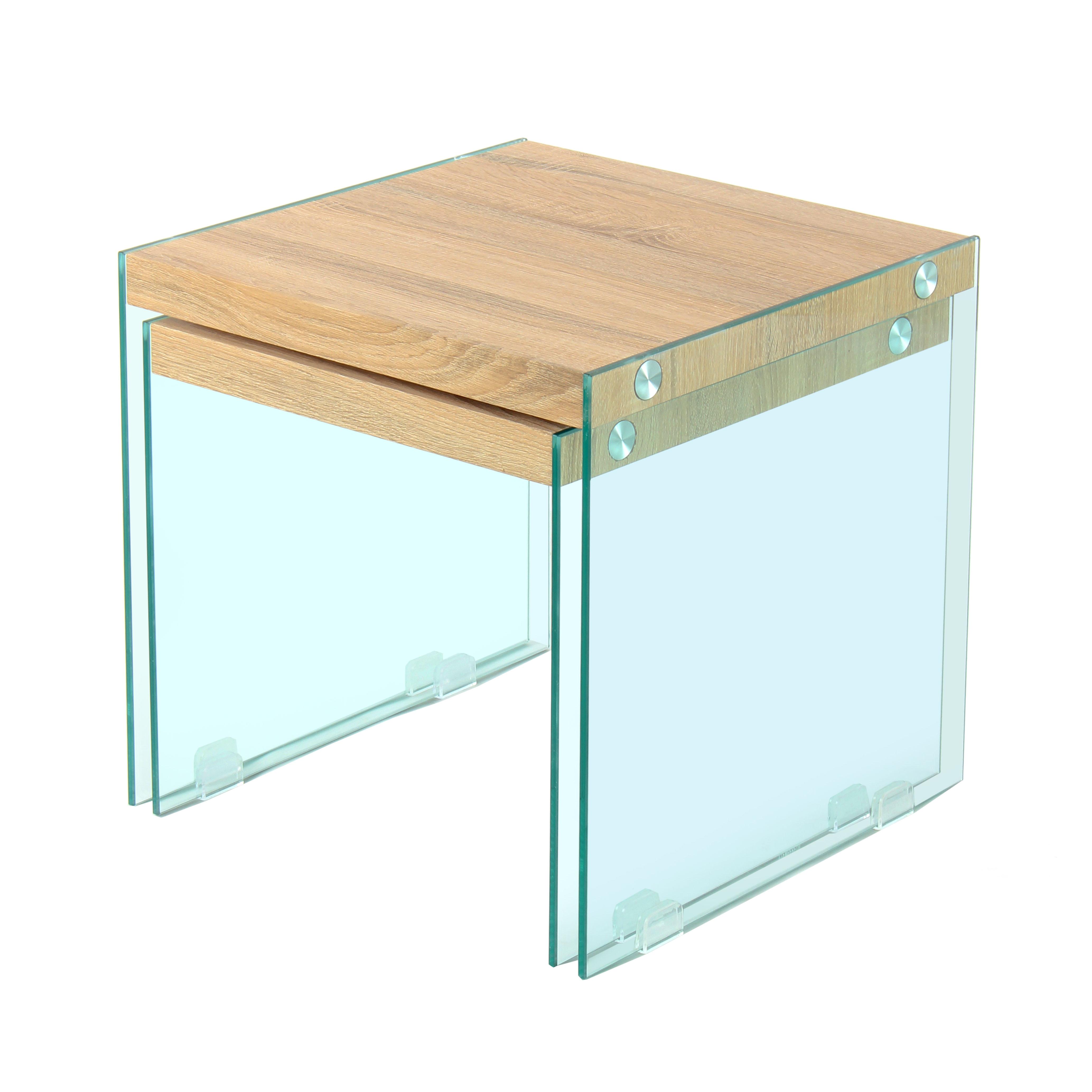 2 Glazen Bijzet Tafels.Bijzettafels East Glas Hout Set Van 2