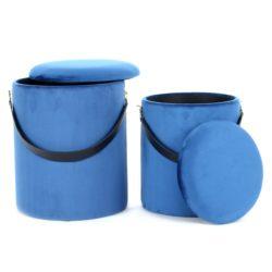 Poef Duo Rond (set van 2) Blauw, Zwart
