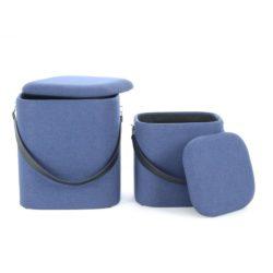 Poef Duo Vierkant (set van 2) Blauw, Zwart