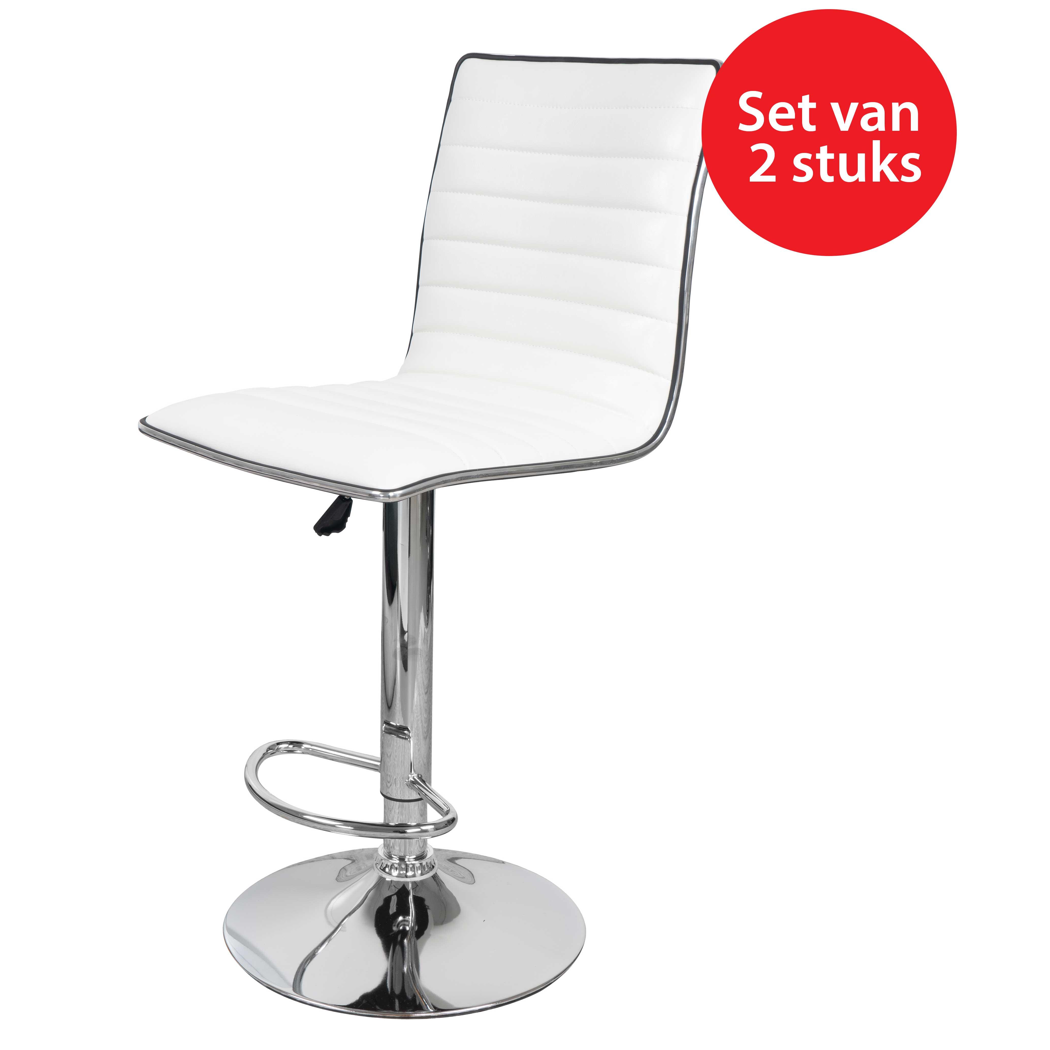 Moderne Witte Barstoelen.Witte Leren Barkrukken Andrew 2 Stuks