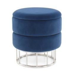 Blauwe ronde Poef Zara