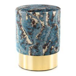 Poef Marble Donkerblauw