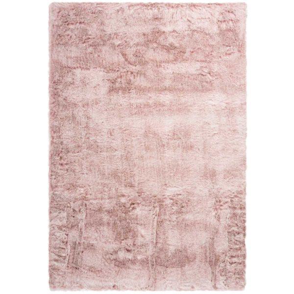 Roze hoogpolig vloerkleed