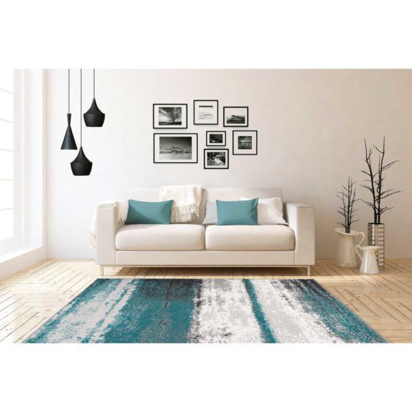 Blauw design vloerkleed
