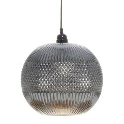 Ronde glazen hanglamp Bol Grijs