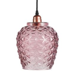 Roze glazen hanglamp Villa