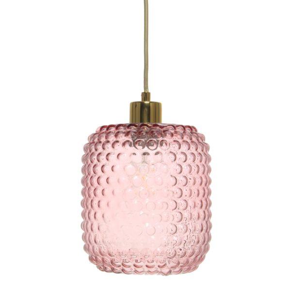 Roze hanglamp met glas Studs