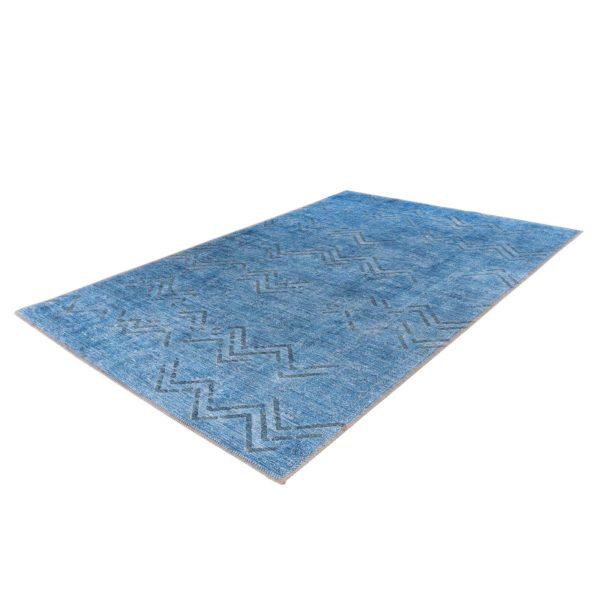 Blauw retro vloerkleed