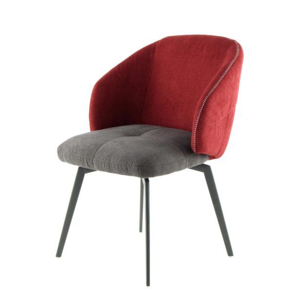 Moderne stoffen eetkamerstoel rood grijs