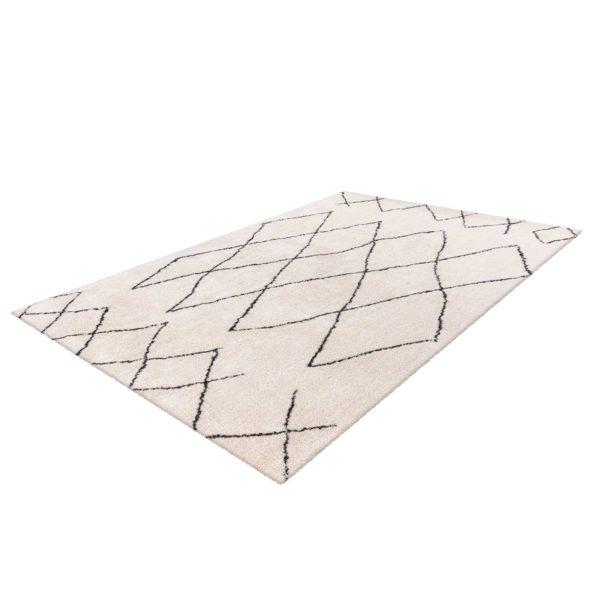 Beige ruitpatroon vloerkleed