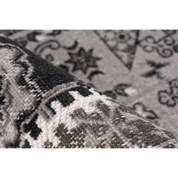 Donkergrijs patchwork vloerkleed