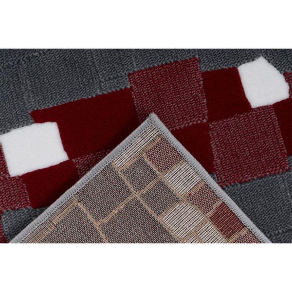 Retro design vloerkleed grijs rood