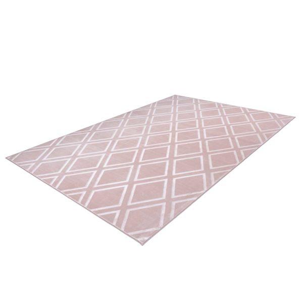 Roze geruit vloerkleed