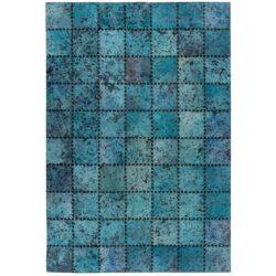 Turquoise patchwork vloerkleed
