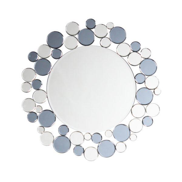 Zilveren ronde wandspiegel met grijs Bub