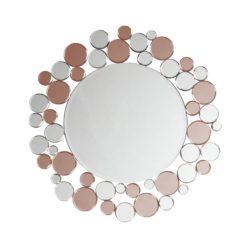 Zilveren ronde wandspiegel met rosé Bub