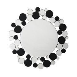 Zilveren ronde wandspiegel met zwart Bub