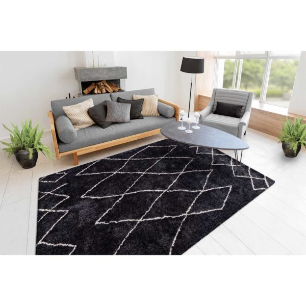 Zwart-ruitpatroon-vloerkleed