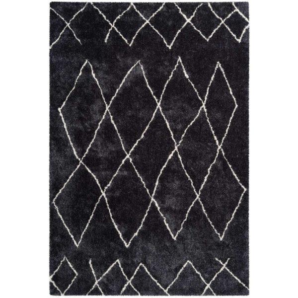 Zwart ruitpatroon vloerkleed