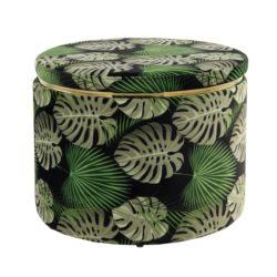 Groene ronde poef Flora