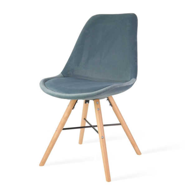blauwe-eetkamerstoel-houten-onderstel